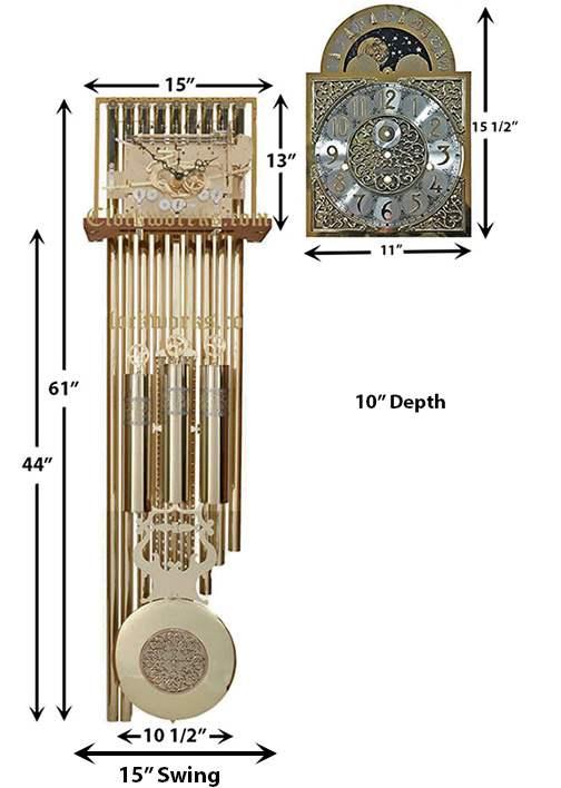 Hermle 9 Tubular Bell Clock Movement Clockworks