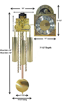 Grandmother Clock Movement Kit