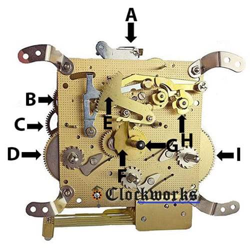 340fID hermle clock movement parts 340 clockworks