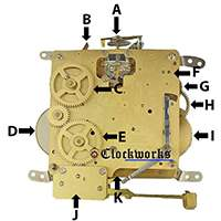 Hermle Clock Parts 341 back diagram