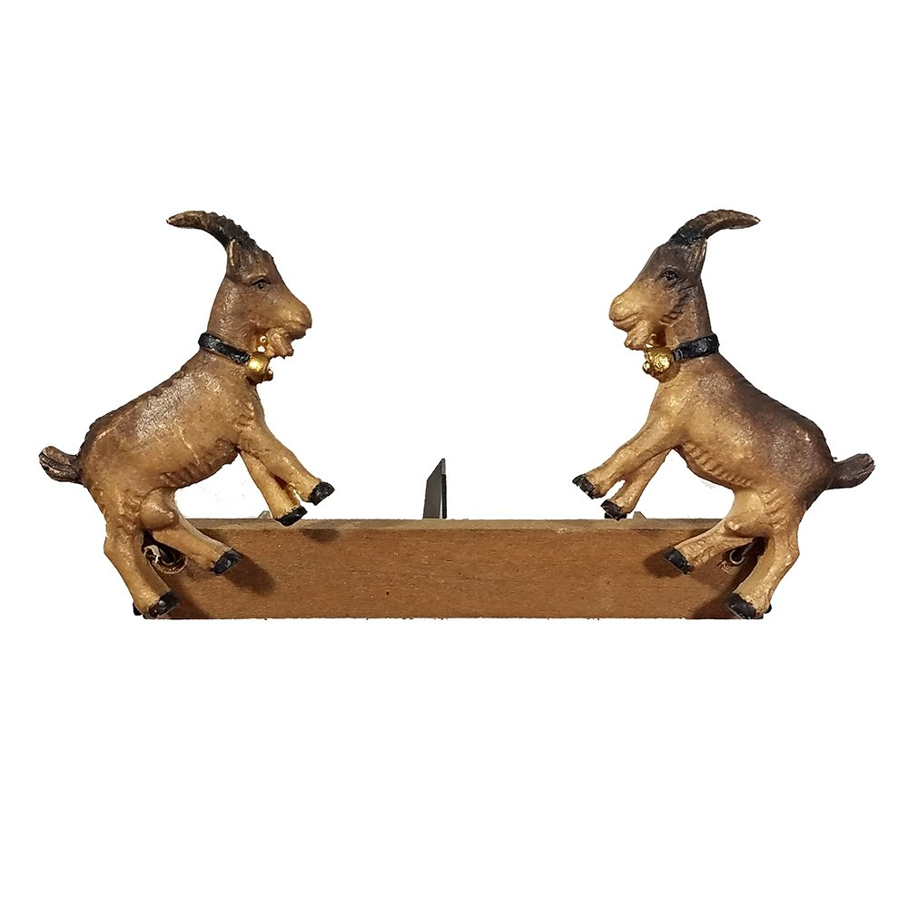 Animated Cuckoo Clock Figurine of Goats Jumping