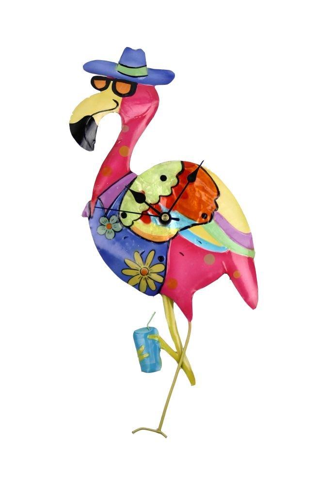 Colorful Animated Metal Flamingo Clock