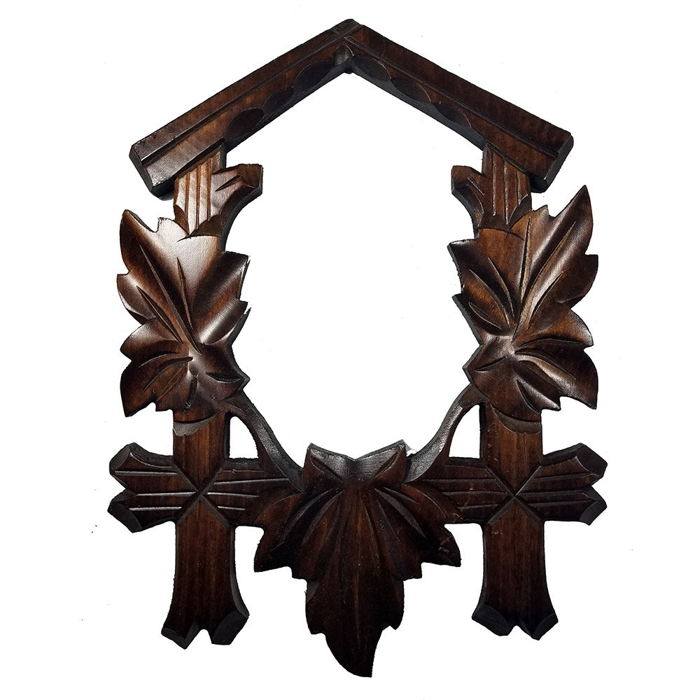 Dark Wooden Maple Leaf Carved Cuckoo Clock Front