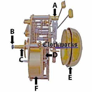 Hermle 130 / 131 Clock Movement Parts Side Diagram