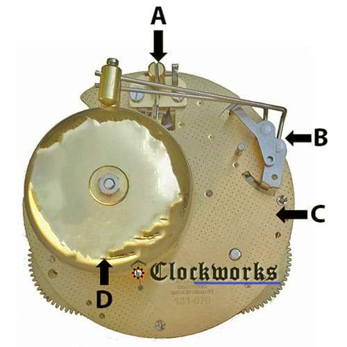 Hermle 130 Clock Movement Parts Back Diagram