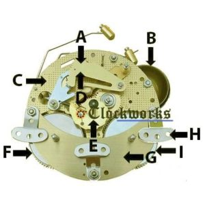 Hermle 130 Clock Movement Parts Front Diagram