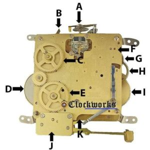Hermle 340 Clock Movement Parts Back Diagram
