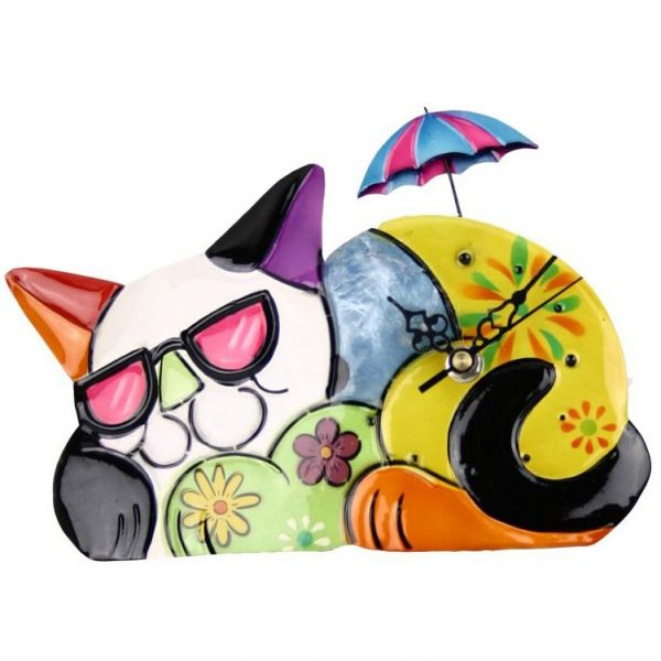 Painted Metal Cat Clock with Moving Umbrella