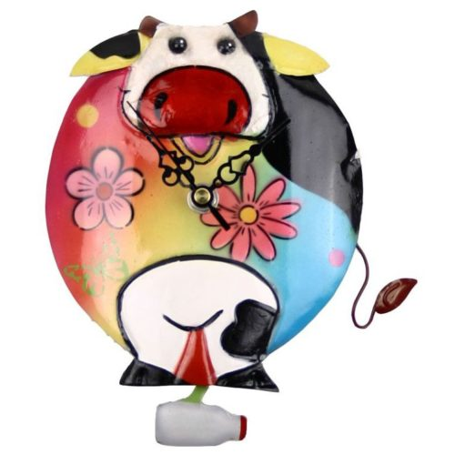 Painted Metal Cow Clock with Milk Pendulum