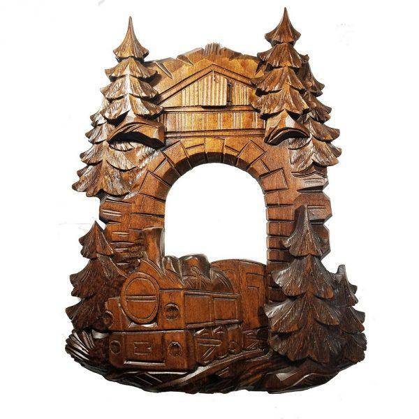 Wooden Railroad Cuckoo Clock Front Face Dressing