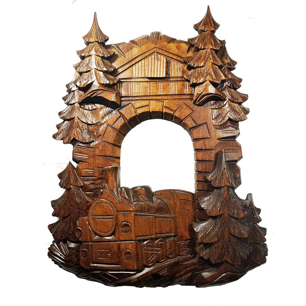 Wooden Railroad Cuckoo Clock Front Face Dressing