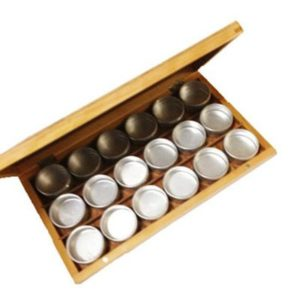 Wooden Watch Parts Organizer with Aluminum Cups