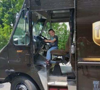 Clock apprentice Brayden steeling the UPS mans truck