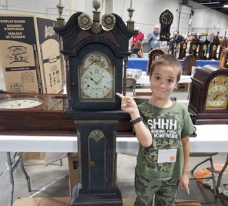 Apprentice Brayden T with a PA Dwarf Clock 2019 National Clock Convention