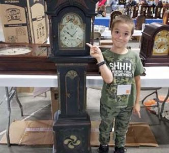 Apprentice Brayden Turgeon with a PA dwarf clock