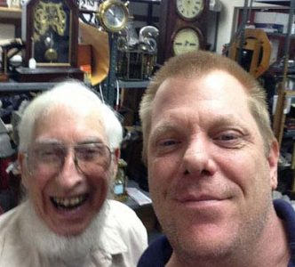 Clockmaker and Uncle Robert Tonkin with Clockworks Owner and nephew James Stoudenmire