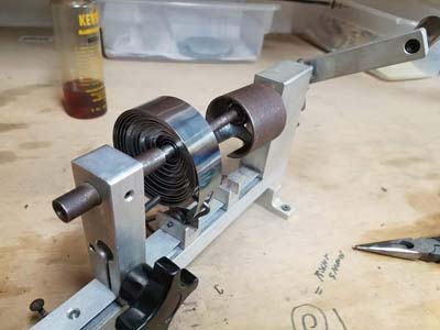 Clock mainspring winder in use